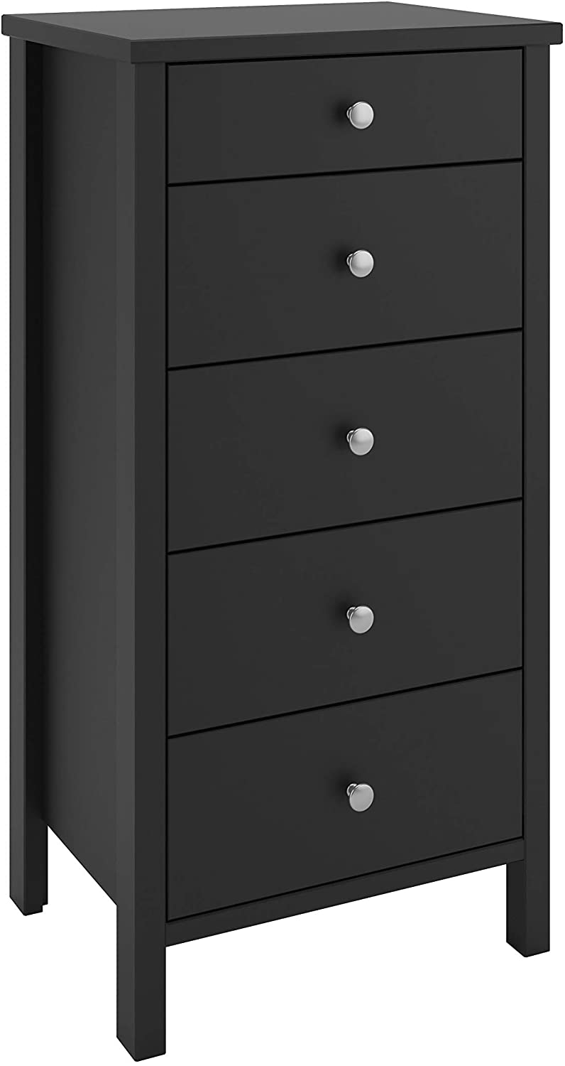 Steens Tromso 5 Drawer Narrow Chest Black