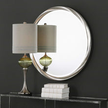 "Load image into Gallery viewer, Uttermost 09278 Orion - 36"" Round Mirror, Metallic Silver Leaf Finish"