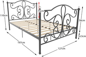 Vida Designs Chicago Small Double Bed, 4ft Bed Frame Metal Headboard High Foot End Black