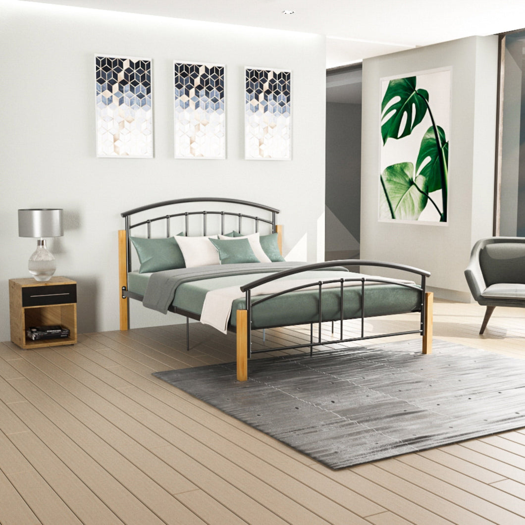 Venice King size Metal & Wood Bed Black.