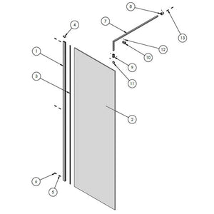 Wetroom Screen & Support Bar 700 x 1850mm