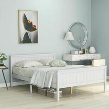 Load image into Gallery viewer, White Wooden Bed Frame Double 4ft 6 Solid Wood Anti-shaking Bed