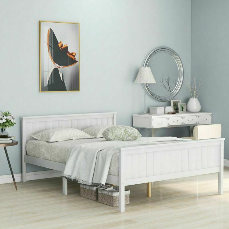 White Wooden Bed Frame Double 4ft 6 Solid Wood Anti-shaking Bed