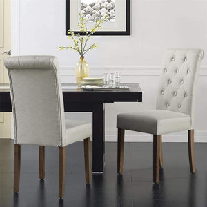 Yaheetech Solid Wood Dining Chairs Button Tufted Parsons Upholstered Fabric Set of 2, Beige