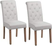 Load image into Gallery viewer, Yaheetech Solid Wood Dining Chairs Button Tufted Parsons Upholstered Fabric Set of 2, Beige