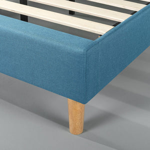 Zinus Ibidun Double Upholstered Button Tufted Platform Bed Riverside Blue Mattress Foundation / Easy Assembly / Strong Wood Slat Support
