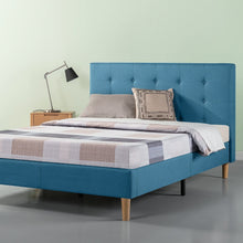 Load image into Gallery viewer, Zinus Ibidun Double Upholstered Button Tufted Platform Bed Riverside Blue Mattress Foundation / Easy Assembly / Strong Wood Slat Support