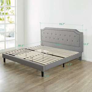 Zinus Kellen king size Upholstered Scalloped Button Tufted Platform Bed