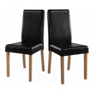 Oakridge Medium Real Ash Veneer Table, Oak, and 2 black faux leather dining chairs