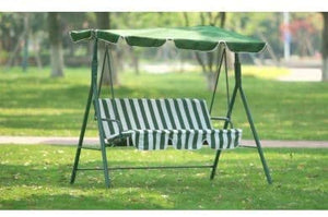 groundlevel 3 Seat Garden Swing Chair With Canopy With Built In Led Lights And Green And White Candy Stripe Padded Cushion