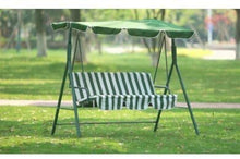 Load image into Gallery viewer, groundlevel 3 Seat Garden Swing Chair With Canopy With Built In Led Lights And Green And White Candy Stripe Padded Cushion