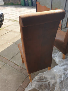 pair of high back dining chairs brown