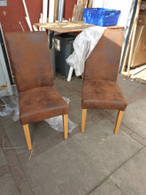 Load image into Gallery viewer, pair of high back dining chairs brown