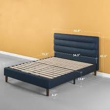zinus kiernan Double Upholstered Platform Bed Frame Navy Blue