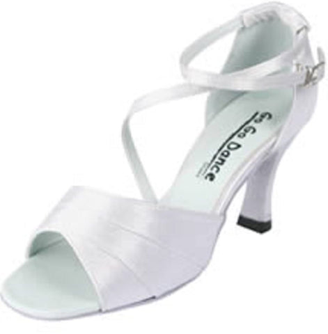 "Ladies White Stain 3"" Heel Ballroom Shoe GO4142- Final Sale"