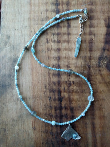 Tiny gingko leaf with kyanite strand necklace