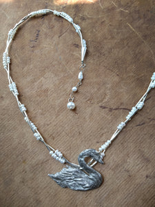 Swan with Pearls Necklace