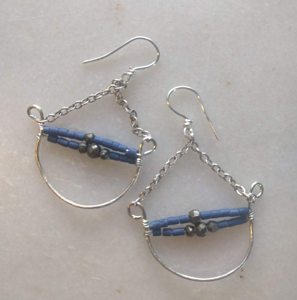 Silver wire crescent and beads earrings
