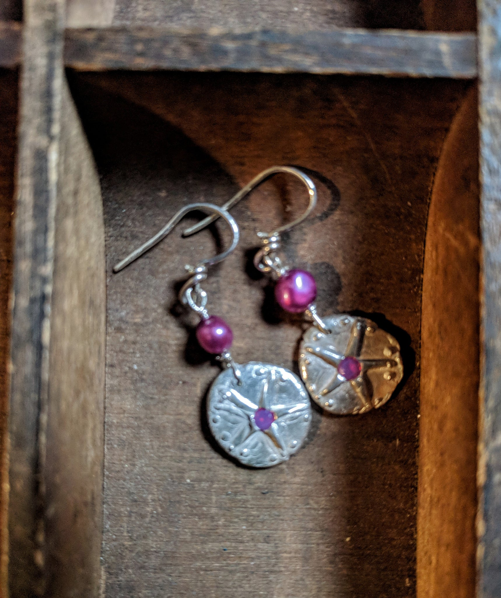 Silver Sand Dollar with Pink Pearl and Crystal Earrings