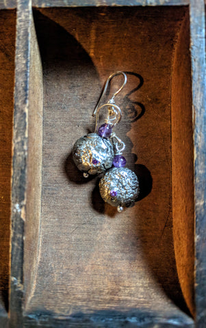 Amethyst silver lava bead earrings