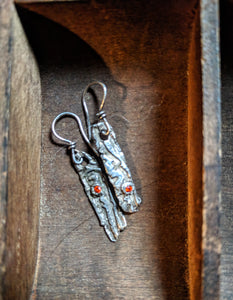 Silver Tree Bark Orange Crystal Earrings