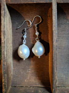Baroque pearl drops with tiny pearls