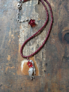 Ruby strand with silver Victorian hand and Czech glass flowers