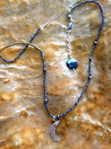 Sapphire and pyrite  necklace with crescent pendant