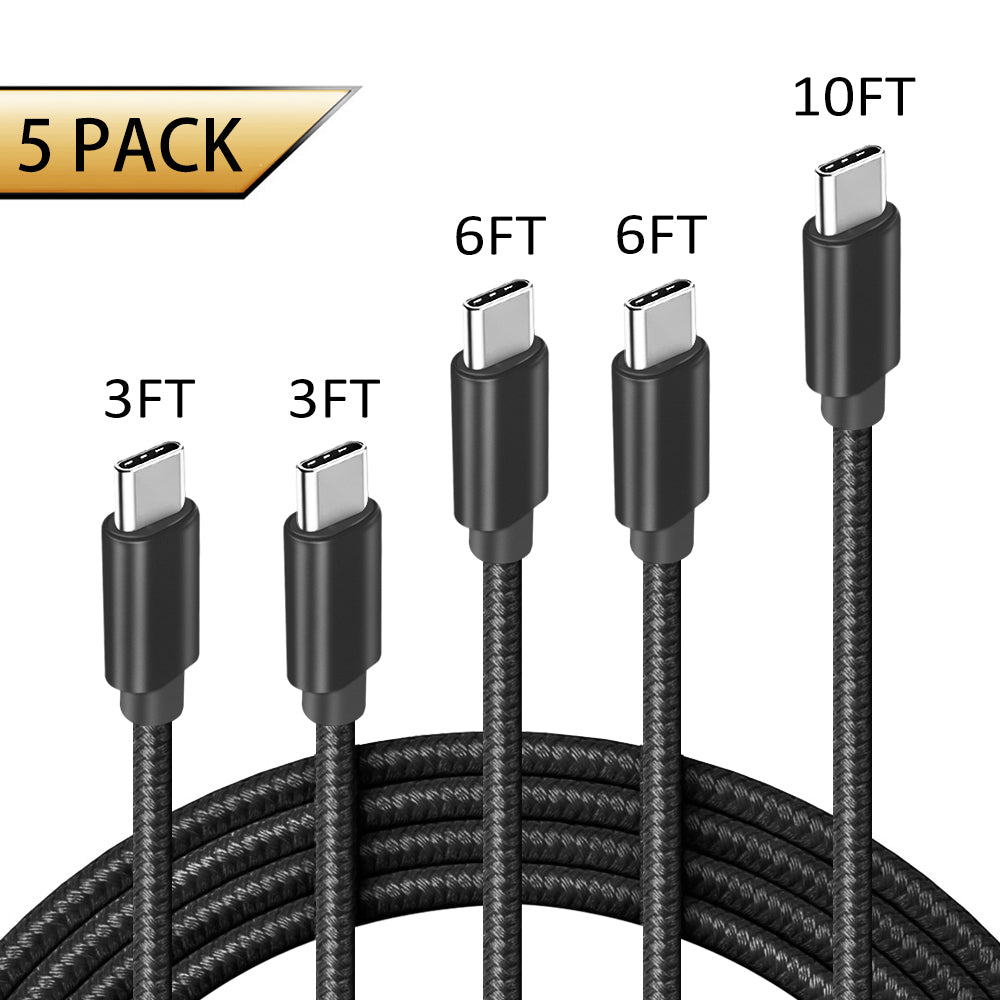 USB C Cable, 【5-Pack 3A】(Dark Black)