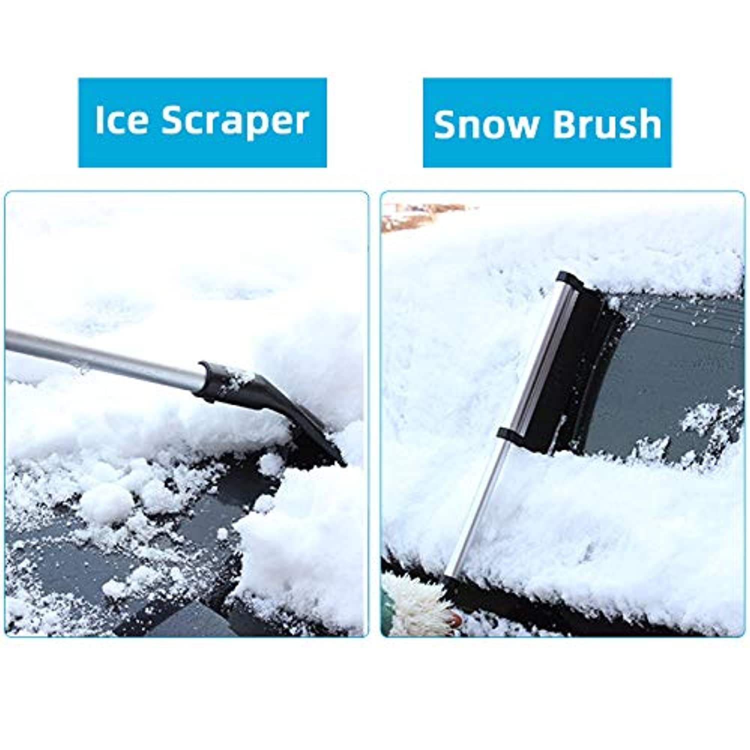 Extends From 17 to 25 inch Retractable Snow Brush Ice Scraper for Car with Brush /& Metal Grip 2 in 1 Black Portable Auto Car Snow Brushes Lightweight Aluminium Alloy Ice Scrapers for Car Windshield