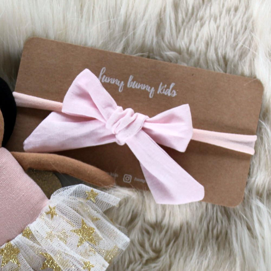 Linen Bow Headband - Baby Pink | Little Lights Co.