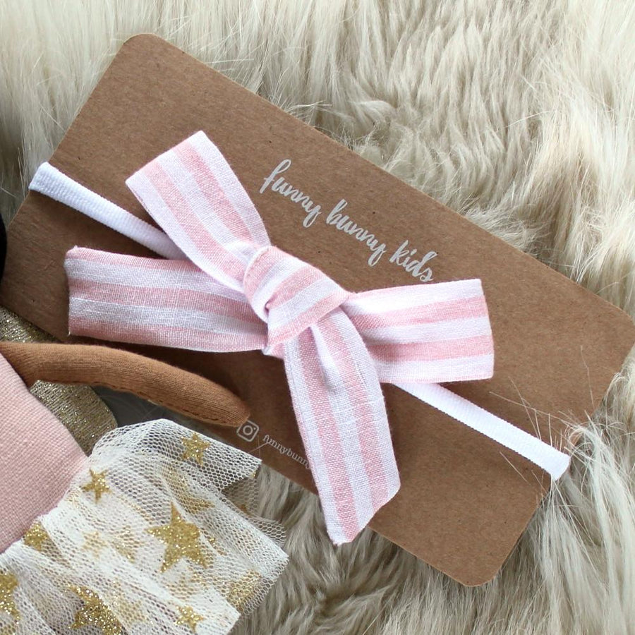 Linen Bow Headband - Baby Pink Striped | Funny Bunny Kids | Little Lights Co.