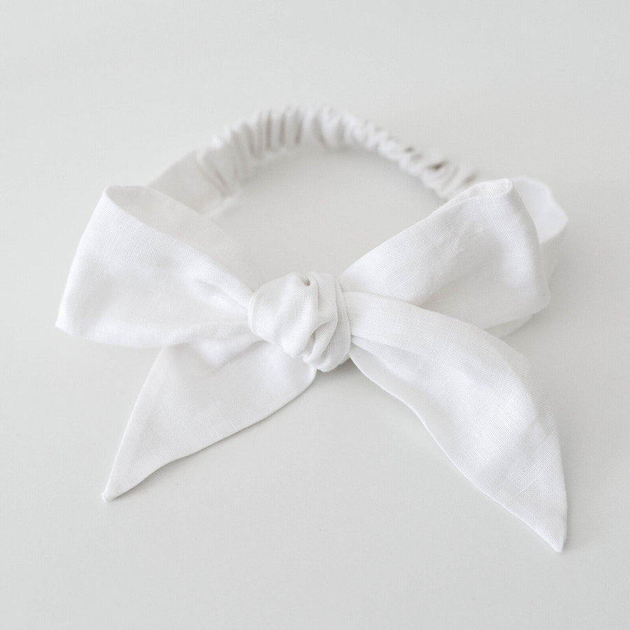 White Linen Bow Pre-Tied Headband Wrap | Snuggle Hunny Kids | Little Lights Co.