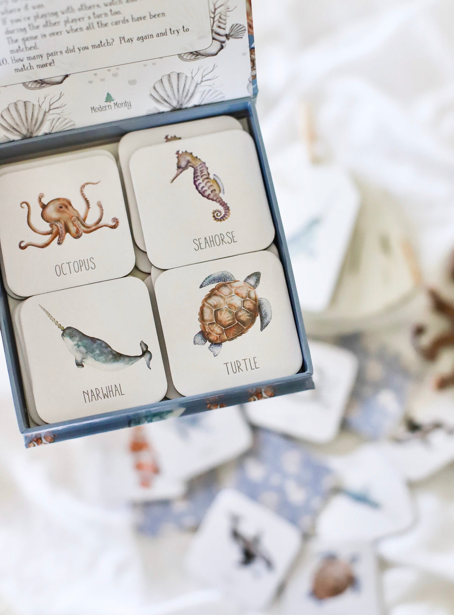 Ocean Memory Card Game | Modern Monty | Little Lights Co.