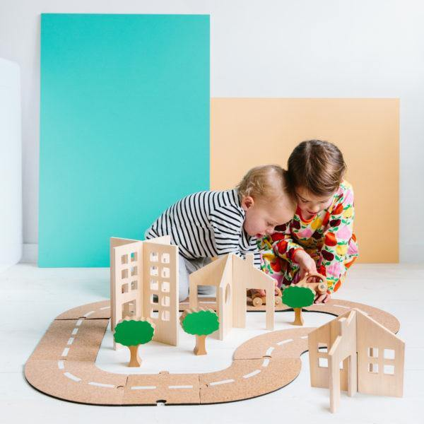 Getting About Town - Cork Road Set with Wooden Buildings | The Freckled Frog | Little Lights Co.