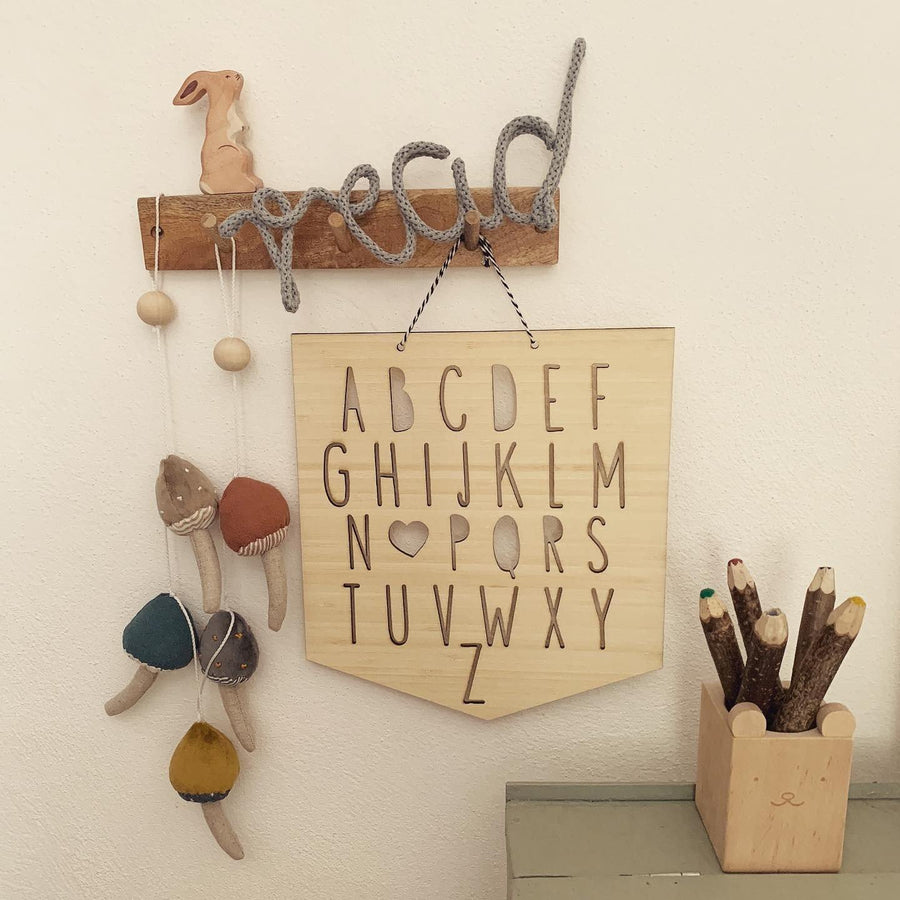 Alphabet Wall Hanger | Funny Bunny Kids | Little Lights Co.