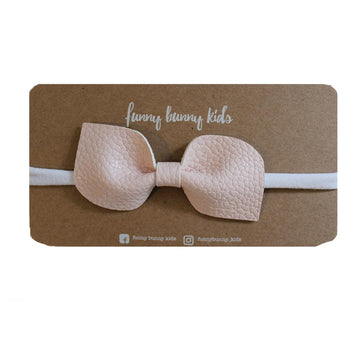 Leather Wide Petal Bow - soft pink | Little Lights Co.