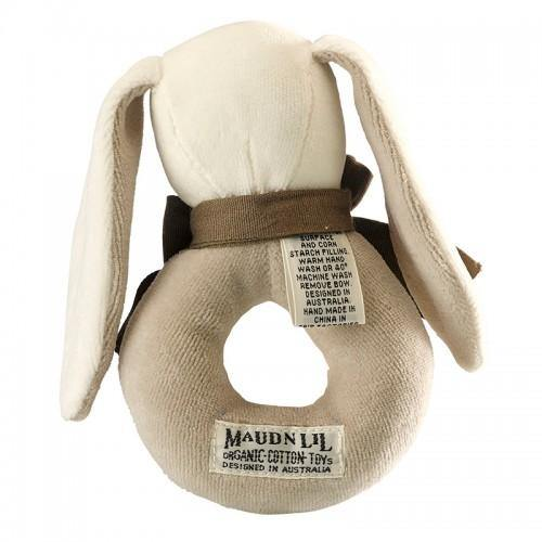 Ears the Bunny Baby Ring Rattle - Organic  | Maud n Lil | Little Lights Co.