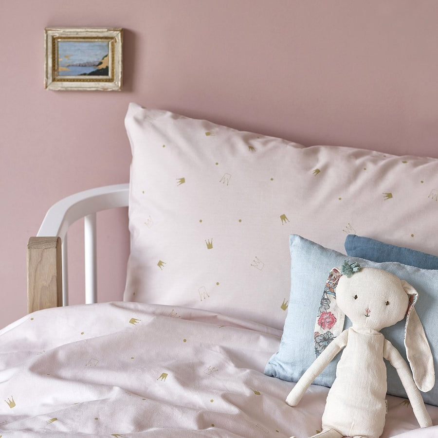 Pale Rose Crowns - Organic Cotton Single Duvet Cover Set | Hibou Home | Little Lights Co.