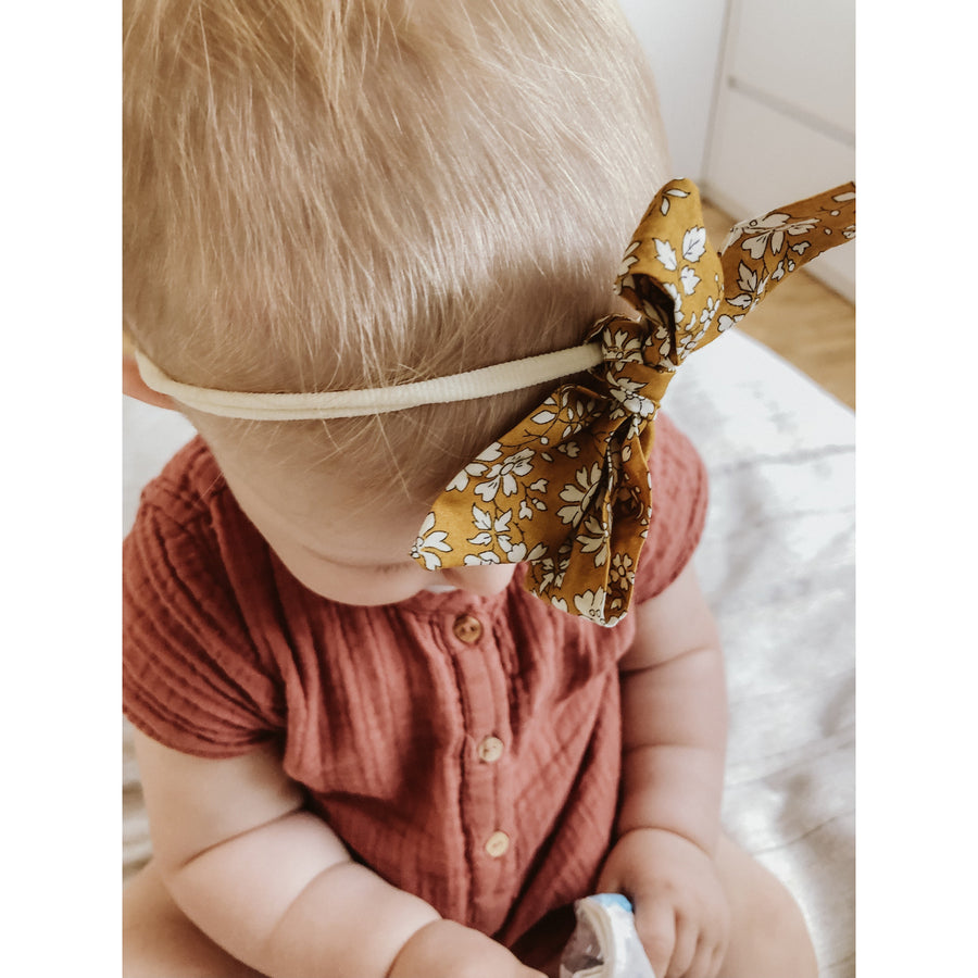 Liberty Bow Headband - Floral Vintage Mustard | Little Lights Co.