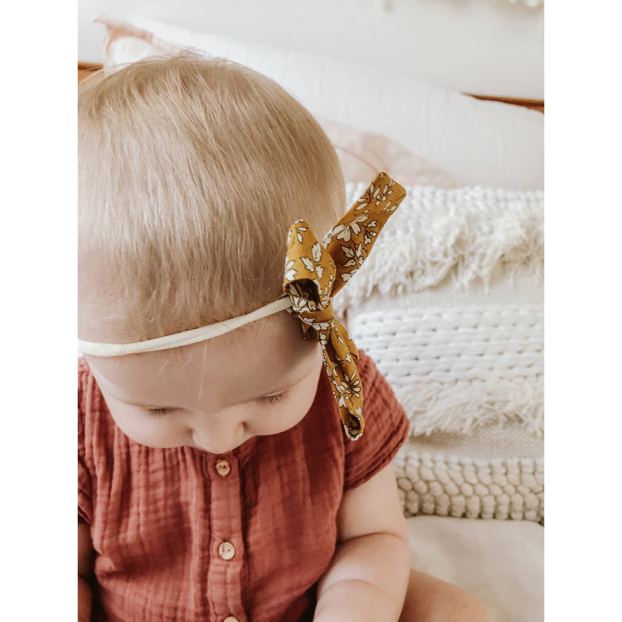 Liberty Bow Headband - Vintage Mustard | Funny Bunny Kids | Little Lights Co.