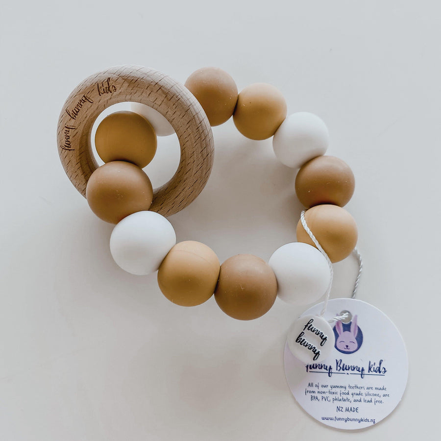 Round Silicon Ball Teether - Ochre | Funny Bunny Kids | Little Lights Co.