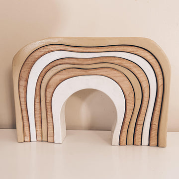 Wooden Stacking Rainbow, Neutral | The Woodlands Toys | Little Lights Co.