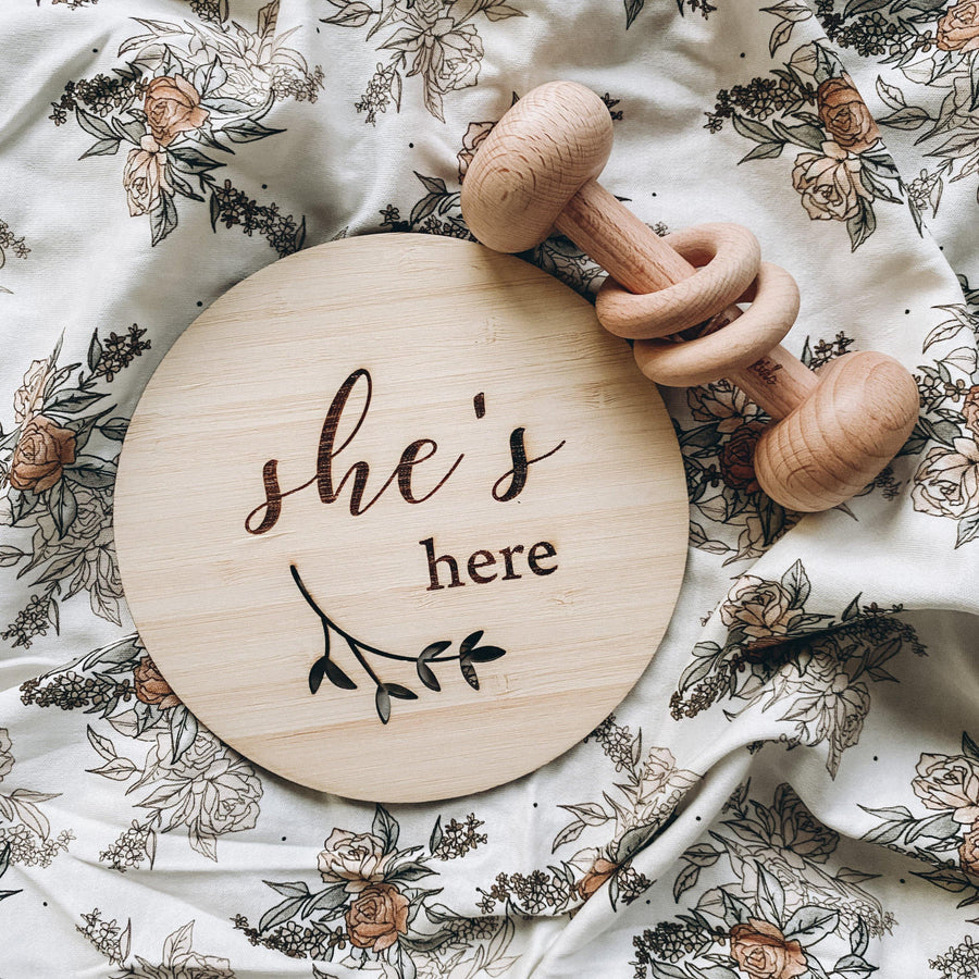 'She's Here' Announcement Plaque | Funny Bunny Kids