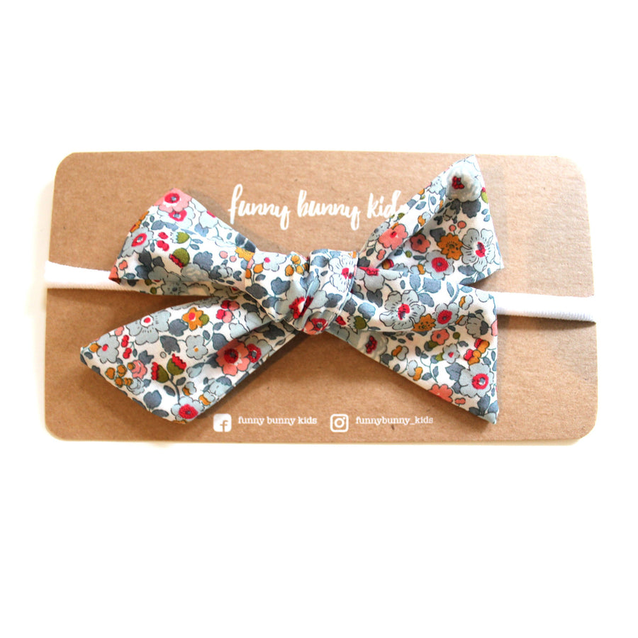 Liberty Bow Headband - Floral Vintage White and Blue | Little Lights Co.