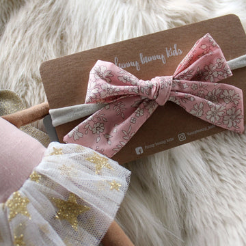 Liberty Bow Headband - Floral Vintage Pink | Little Lights Co.