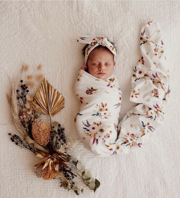 Baby Jersey Wrap & Topknot Set, Boho Posy | Snuggle Hunny Kids | Little Lights Co.