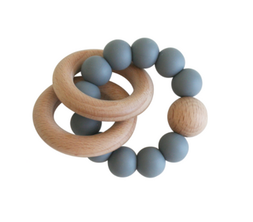Beechwood Teether Rings Set, Storm Grey | Alimrose | Little Lights Co.