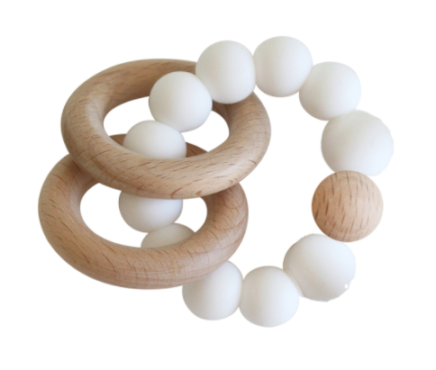 Beechwood Teether Rings Set, Milk | Alimrose | Little Lights Co.