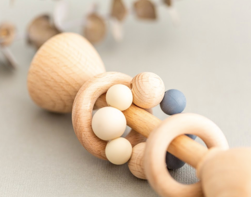 Natural Wooden Rattle, Stoney Grey | Rainbow Child | Little Lights Co.
